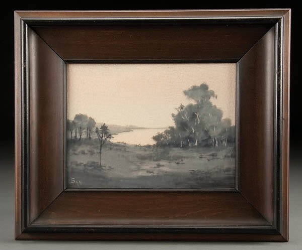 1: A VERY FINE ROOKWOOD SCENIC VELLUM PLAQUE painted
