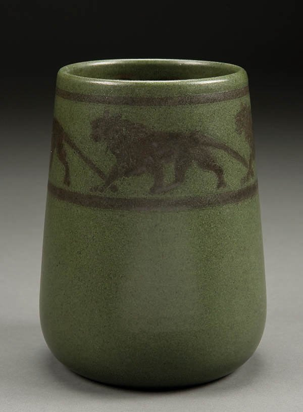 2: A RARE MARBLEHEAD 'LION' ARTS AND CRAFTS POTTERY
