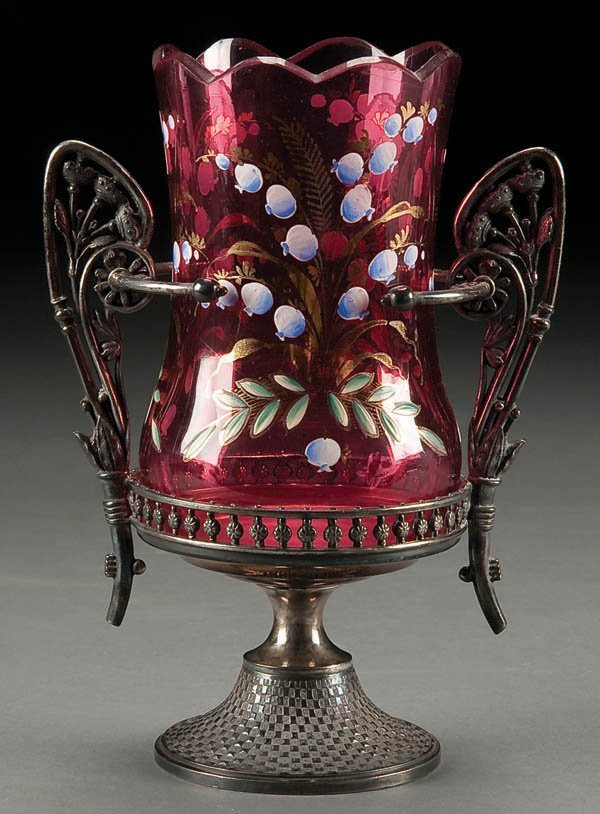 195: A VERY FINE VICTORIAN ENAMEL CRANBERRY GLASS AND