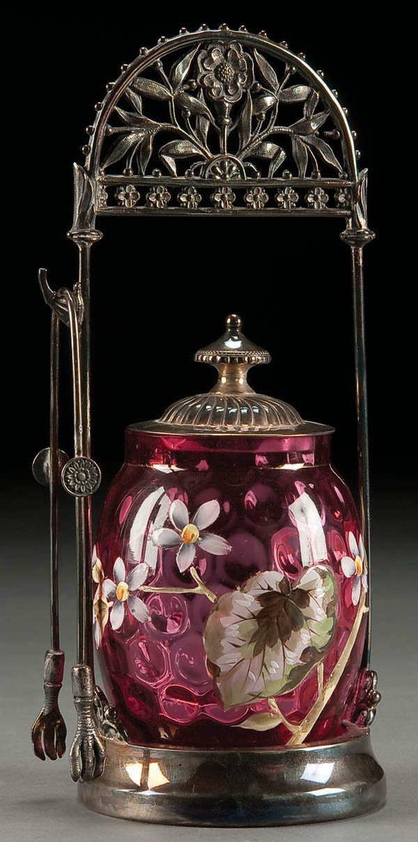 196: A VICTORIAN ENAMEL CRANBERRY GLASS AND SILVER PLA