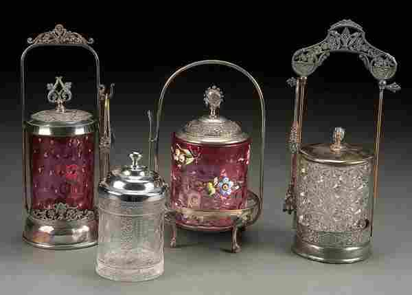 FOUR VICTORIAN GLASS AND SILVER PLATE PICKLE CAST