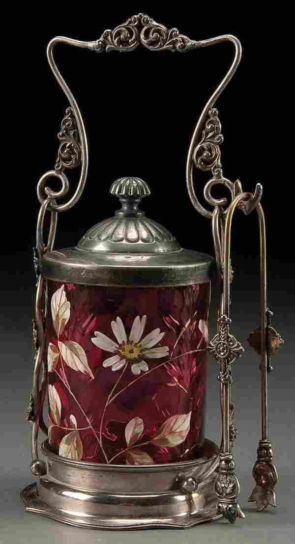 198: A VICTORIAN CRANBERRY GLASS PICKLE CASTOR, circa