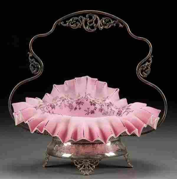 A VICTORIAN CASED GLASS BRIDES BASKET, late 19th