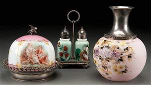 379: A VICTORIAN ENAMELED GLASS TABLE GROUP consisting