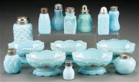 385: FIFTEEN PIECE VICTORIAN BLUE OPAQUE PATTERN GLASS