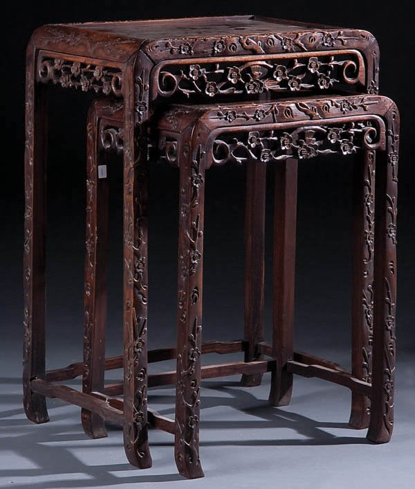 455: A FINE PAIR OF CHINESE CARVED HUANGHUALI NESTING
