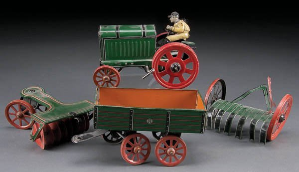 623: A GERMAN TIN LITHO FORDSON WIND-UP TRACTOR, early