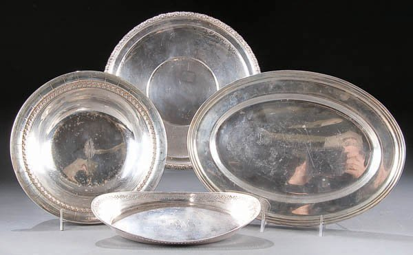696: FOUR STERLING SILVER TRAYS, early to mid 20th cen