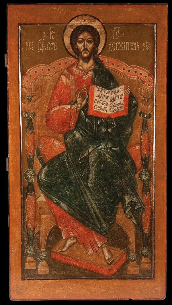 8: A LARGE & IMPRESSIVE RUSSIAN ICON OF CHRIST