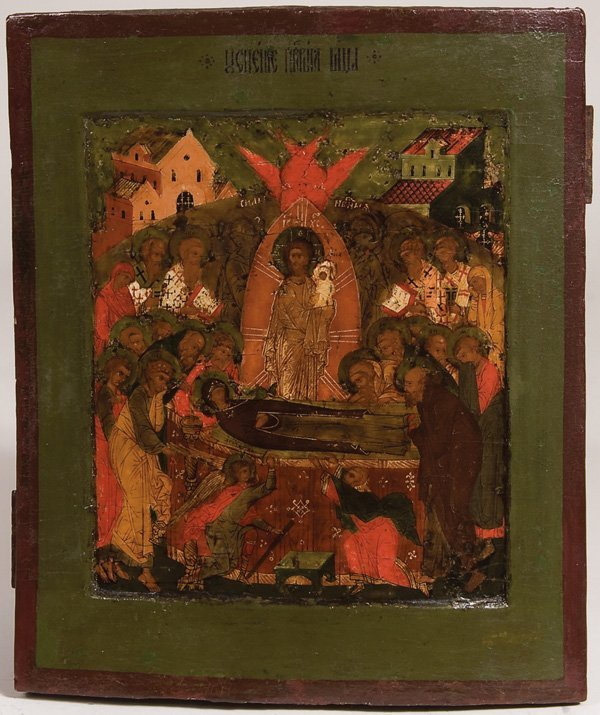 10: A RUSSIAN ICON OF THE DORMITION, MOSCOW.