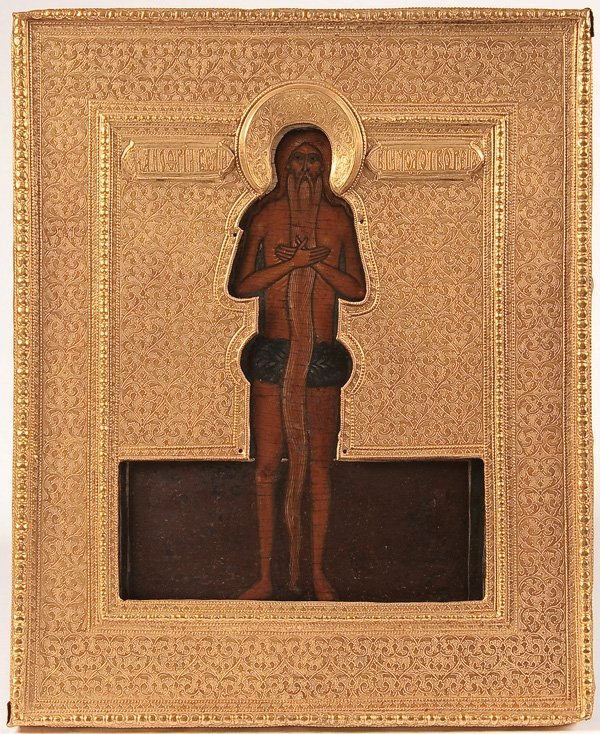 12: A RUSSIAN ICON OF ST. ANOUFRIY, 17TH CENTURY