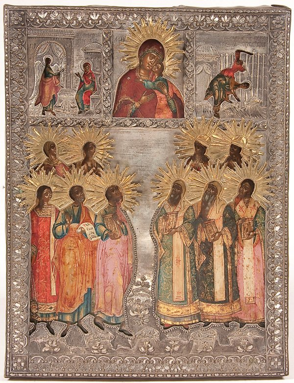 13: A FINE RUSSIAN ICON OF SELECTED SAINTS, MOSCOW