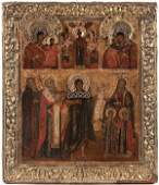 14: A RUSSIAN ICON OF SELECTED SAINTS, 18TH CENTURY.