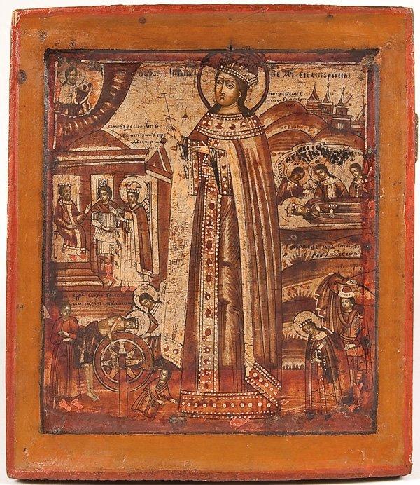 16: A RUSSIAN ICON OF SAINT KATHERINE OF ALEXANDRIA