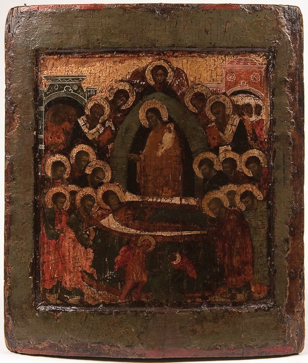 24: A LARGE RUSSIAN ICON OF THE DORMITION
