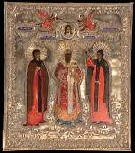 114: A RUSSIAN ICON OF SELECTED SAINTS, CIRCA 1800