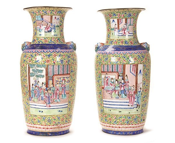 582: CHINESE CANTON ENAMELED SCENIC VASES