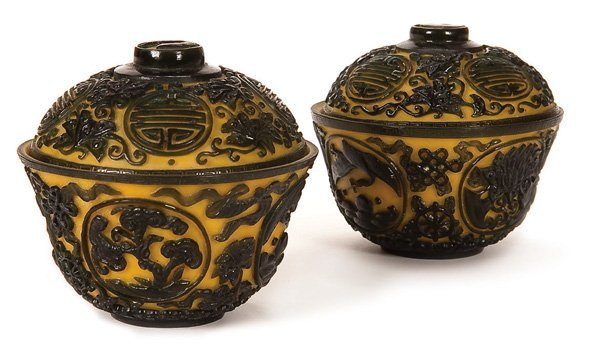 599: CHINESE CARVED PEKING GLASS LIDDED BOWLS