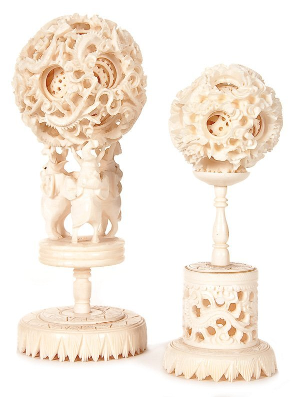 1021: TWO ORIENTAL CARVED IVORY PUZZLE (MYSTERY) BALLS