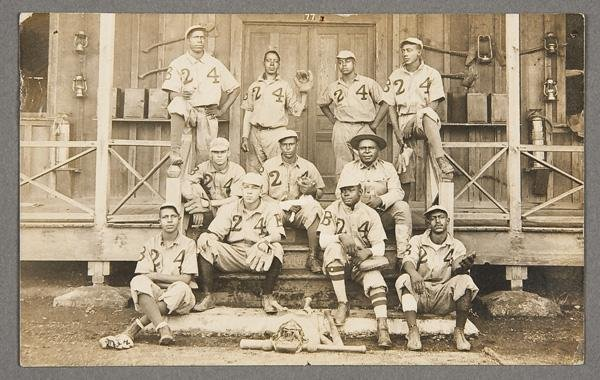 6: BLACK MEMORABILIA: MILITARY BASEBALL POSTCARD