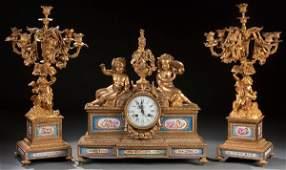 669: FRENCH GILT BRONZE CLOCK GARNITURE