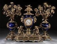 684 FRENCH GILT BRONZE CLOCK GARNITURE