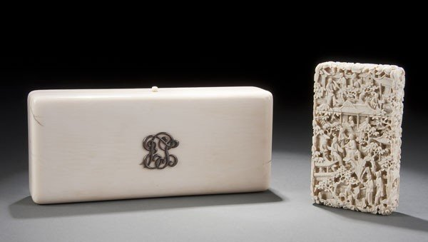 202: EUROPEAN CARVED IVORY LIDDED BOX