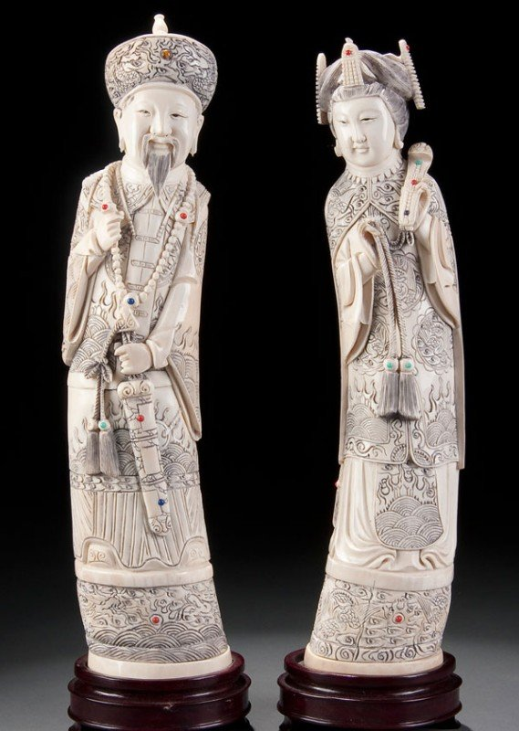 205A: PR CHINESE CARVED IVORY FIGURES