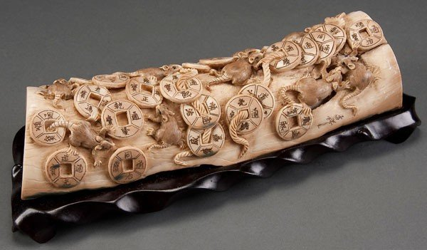 205C: CHINESE CARVED MAMMOTH IVORY TUSK