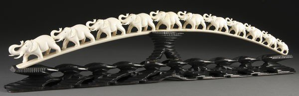 210: ASIAN CARVED IVORY ELEPHANT TUSK