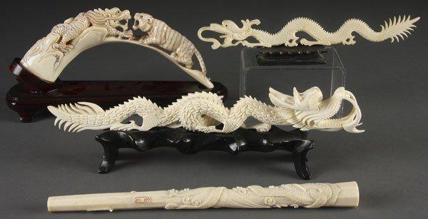 212: 4 PC CARVED IVORY FIGURAL GROUP