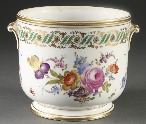 755: SEVRES STYLE HAND PAINTED WINE COOLER
