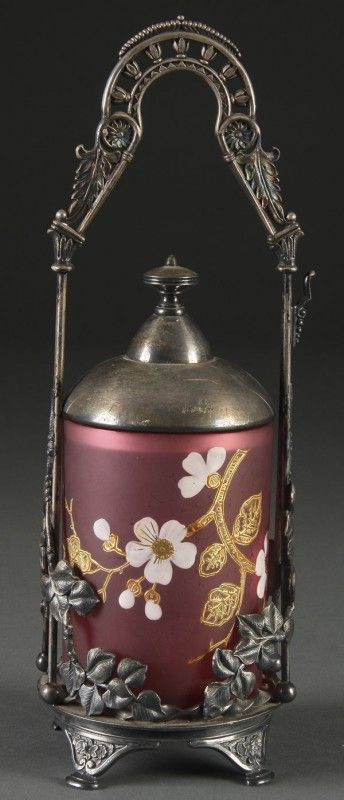 855: VICTORIAN ENAMELED CRANBERRY GLASS PICKLE CASTOR