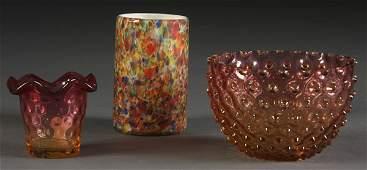 868: 3 PC VICTORIAN ART GLASS GROUP