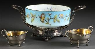 871: VICTORIAN ENAMELED GLASS BRIDES BOWL