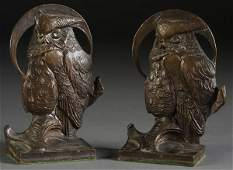 1360 PR BRONZE ART NOUVEAU OWL BOOKENDS