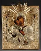 2: RUSSIAN ICON OF THE VLADIMIR MOTHER OF GOD, C. 1840
