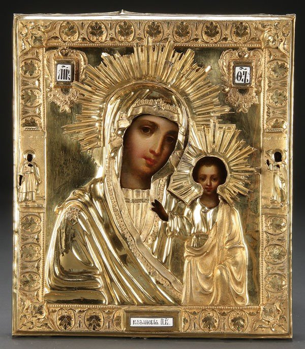 3: RUSSIAN ICON OF THE KAZAN MOTHER OF GOD, C. 1824