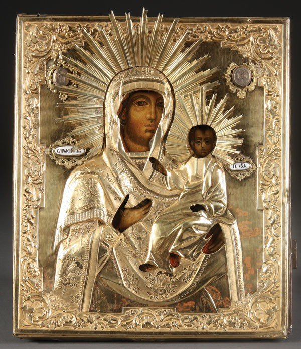 4: RUSSIAN ICON SMOLENSK MOTHER OF GOD, C. 1843