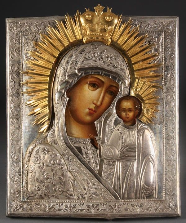 6: RUSSIAN ICON OF THE KAZAN MOTHER OF GOD, 19TH C.