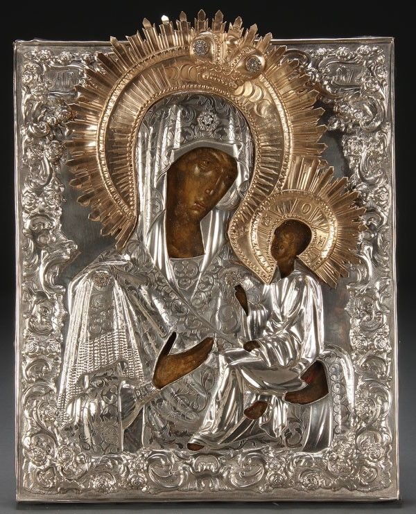 RUSSIAN ICON TIKHVIN MOTHER OF GOD, 18TH C.