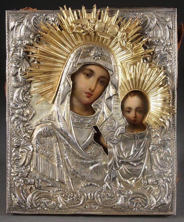 8: RUSSIAN ICON KAZAN MOTHER OF GOD, 19TH C.