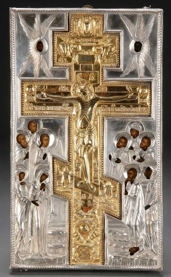 9: RUSSIAN ICON OF THE CRUCIFIXION, C. 1825