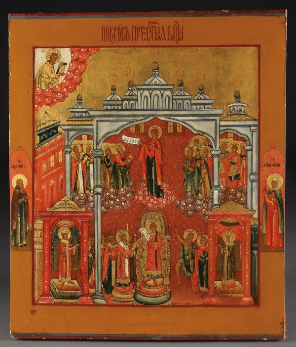 11: RUSSIAN ICON POKROV MOTHER OF GOD, C. 1800