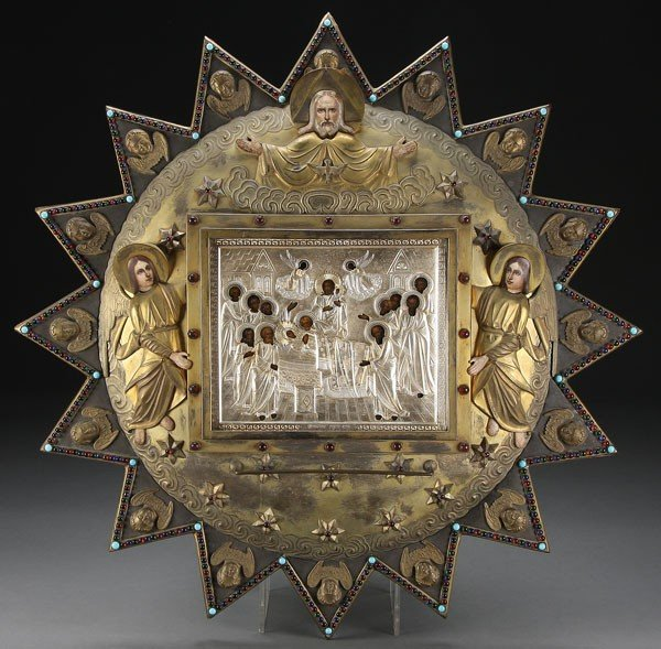13: RUSSIAN ICON AND FRAME, DORMITION, 19TH C.