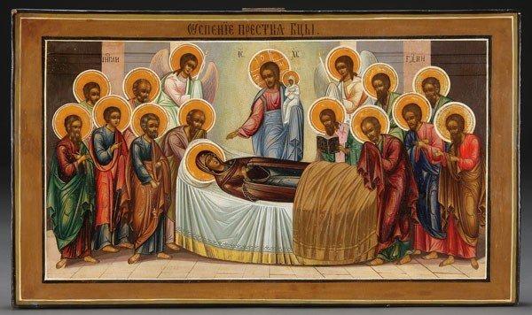 14: RUSSIAN ICON OF THE DORMITION, 19TH C.