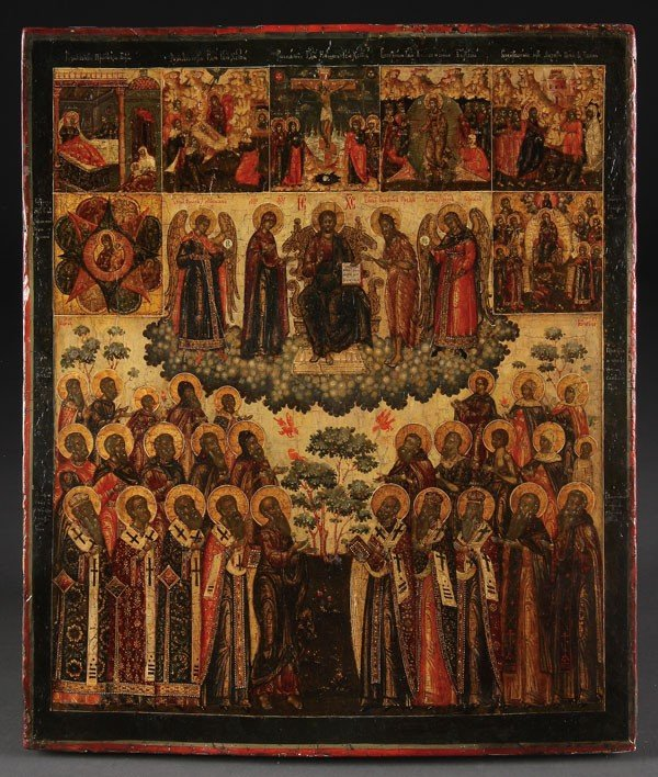 16: RUSSIAN ICON OF THE DIESIS WITH SAINTS, YAROSLAVL,