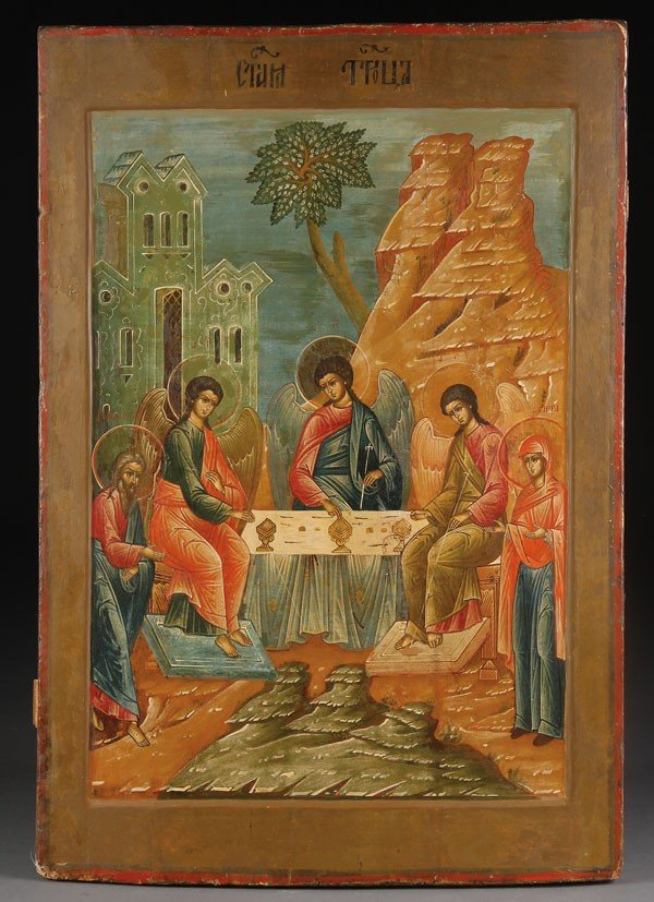 17: RUSSIAN ICON OF THE OLD TESTAMENT TRINITY, 19TH C.
