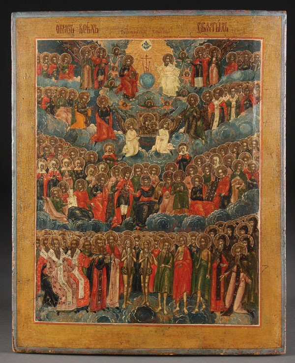 18: RUSSIAN ICON OF ALL SAINTS, 19TH CENTURY