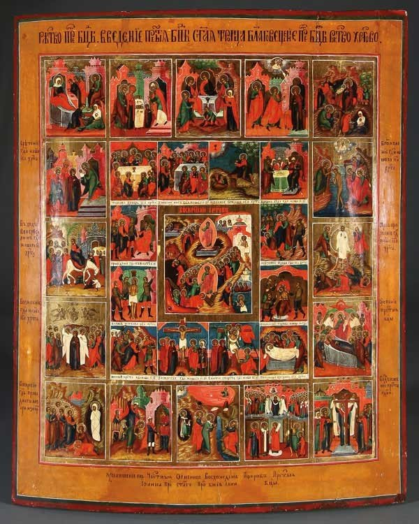 19: RUSSIAN ICON OF THE PASSION, RESURRECTION, 19TH C.